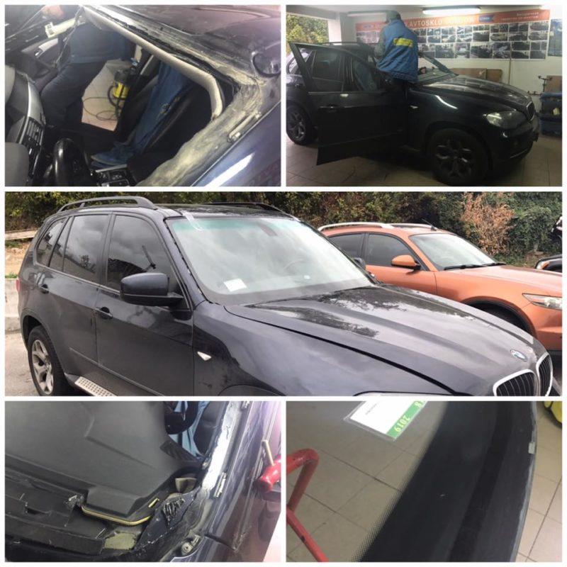 BMW X5 переустановка лобового стекла после некачественной установки